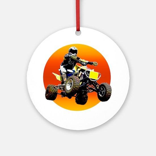 ATV Racing to Sunset Ornament (Round)
