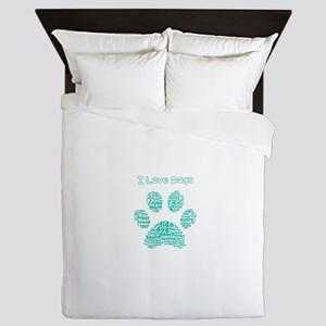 I Love Dogs Paw Word Cloud Queen Duvet
