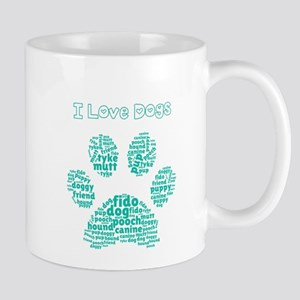 I Love Dogs Paw Word Cloud Mugs