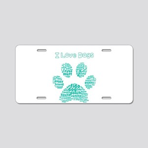 I Love Dogs Paw Word Cloud Aluminum License Plate