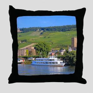 Cruise boat Rudesheim, Germany Throw Pillow