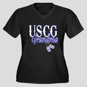 USCG Grandma Dog Tag Women's Plus Size V-Neck Dark