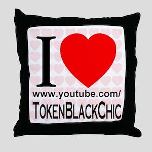 I Love TokenBlackChic Throw Pillow