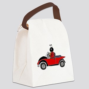 Ladybug Driving Bug Canvas Lunch Bag