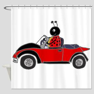 Ladybug Driving Bug Shower Curtain