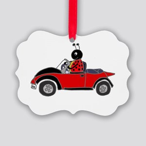 Ladybug Driving Bug Picture Ornament