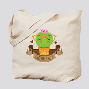 Crazy cactus lady on a banner Tote Bag
