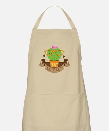 Crazy cactus lady on a banner Apron