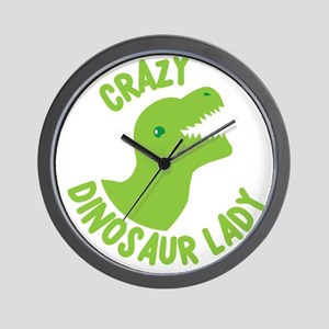 Crazy dinosaur lady Wall Clock