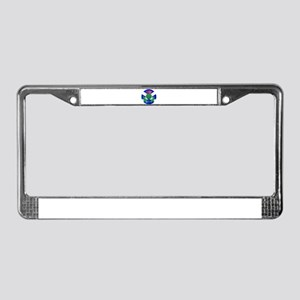 Scotish Flag And Thistle Butto License Plate Frame
