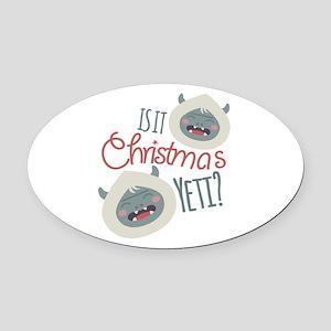 Christmas Yeti Oval Car Magnet