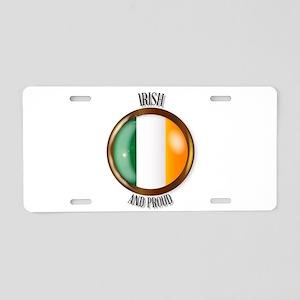 Irish Proud Flag Button Aluminum License Plate