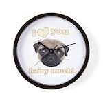 Shug The Scottish Pug Loves You Wall Clock