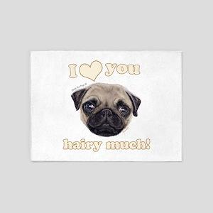 Shug The Scottish Pug Loves You 5'x7'Area Rug