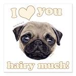 Shug The Scottish Pug Loves You Square Car Magnet
