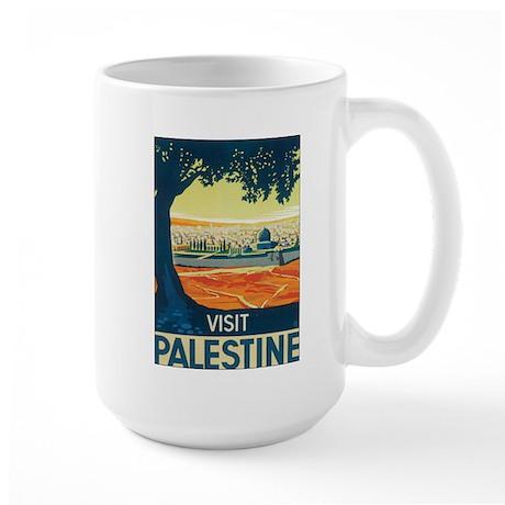 Vintage Palestine Travel Post Large Mug