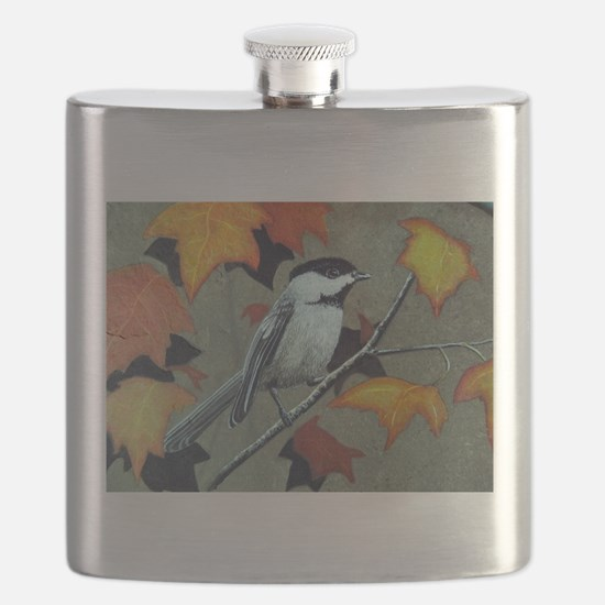 Chickadee Amongst the leaves Flask