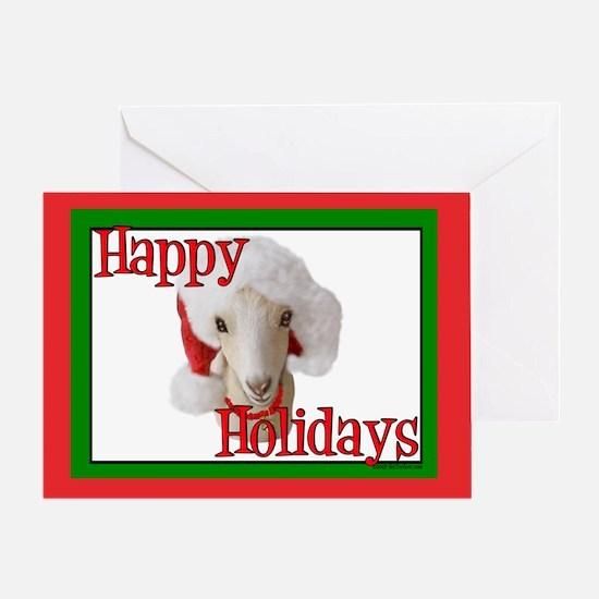 LaMancha Goat Happy Holidays Santa Natty Greeting