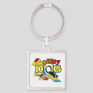 Border Collie Agility Square Keychain