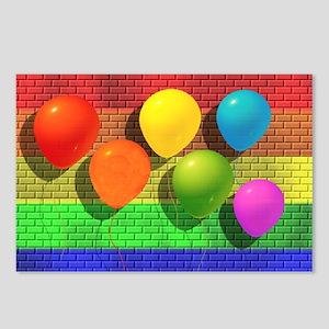 6 RAINBOW BALLOONS/BRICK WALL Postcards (Package o