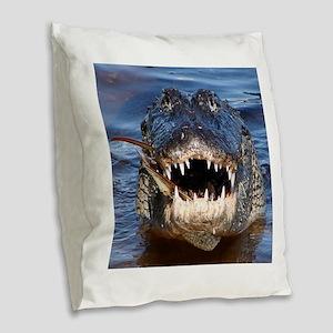 Alligator Burlap Throw Pillow