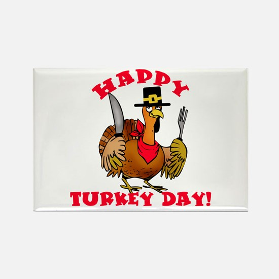 Happy Turkey Day Rectangle Magnet