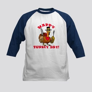 Happy Turkey Day Kids Baseball Jersey