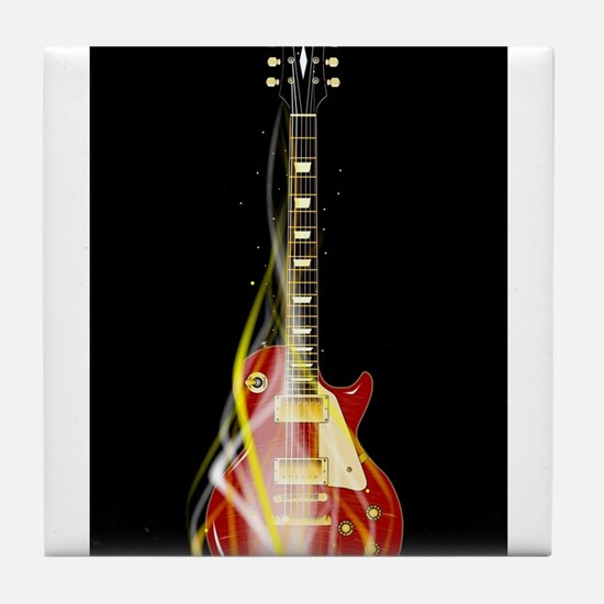 Burning Guitar Tile Coaster