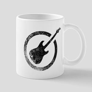 Black Ink Stamp Guitar Mugs