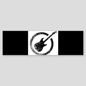 Black Ink Stamp Guitar Bumper Sticker