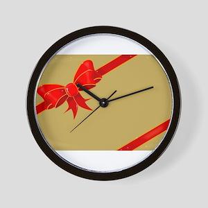 Christmas Ribbon on Gold Wall Clock