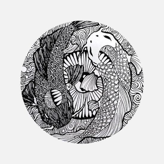 Yin Yang Pisces Button