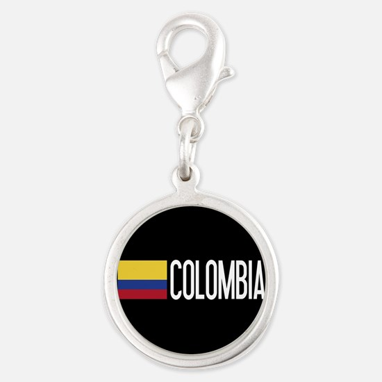 Colombia: Colombian Flag & Col Silver Round Charm
