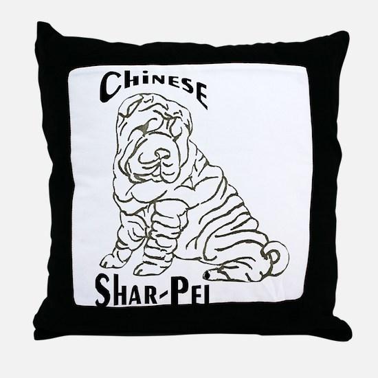 BWChineseSharPei Throw Pillow