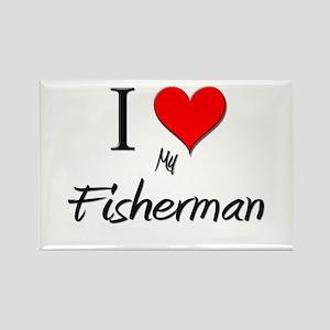 I Love My Fisherman Rectangle Magnet