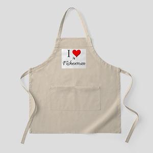 I Love My Fisherman BBQ Apron