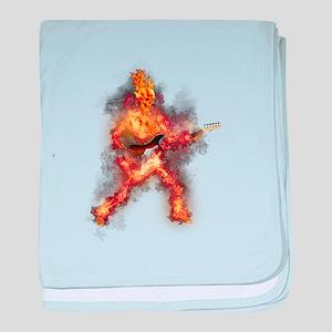 Fire Skeleton Guitarist baby blanket