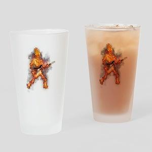 Fire Skeleton Guitarist Drinking Glass