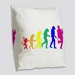 Gay Evolution Burlap Throw Pillow