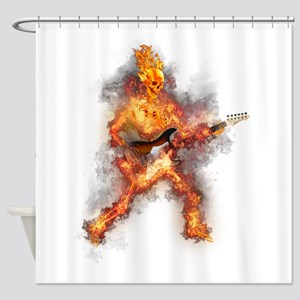 Fire Skeleton Guitarist Shower Curtain