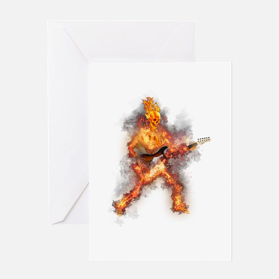 Fire Skeleton Guitarist Greeting Cards