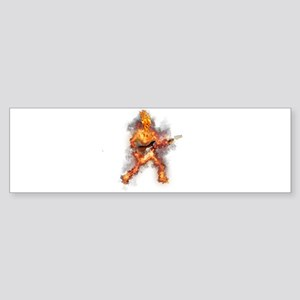 Fire Skeleton Guitarist Bumper Sticker