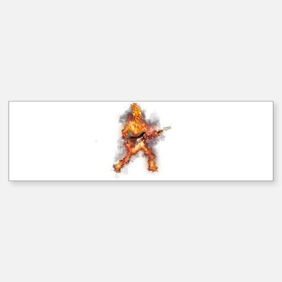 Fire Skeleton Guitarist Bumper Bumper Bumper Sticker