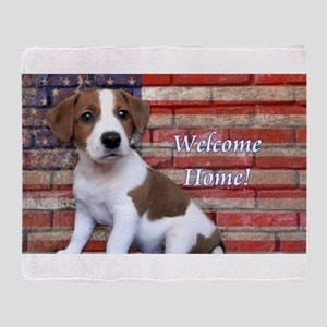 Welcome Hom Jack Russell Terrier Throw Blanket