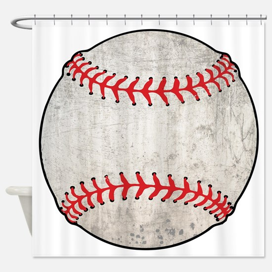 Grunge Baseball Shower Curtain