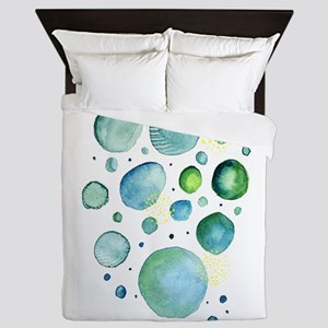 Bubbles Watercolor Queen Duvet
