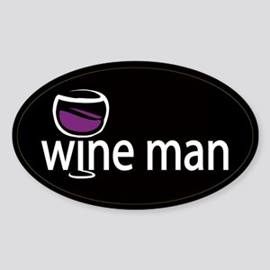 Wine Man Oval Sticker