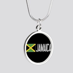 Jamaica: Jamaican Flag & Jam Silver Round Necklace