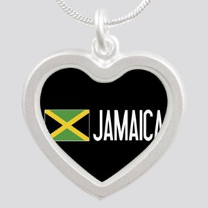 Jamaica: Jamaican Flag & Jam Silver Heart Necklace