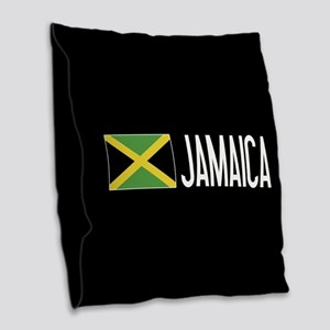 Jamaica: Jamaican Flag & Jamai Burlap Throw Pillow